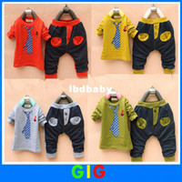 Wholesale Children s clothing set the handsome boy Outfits with fake tie piece fine cotton long sleeved suits for kids wear