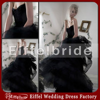 Wholesale 2014 Embellished Designer One Piece Party Dress Sexy Beaded Embroidery Sweetheart Neckline Ruffle Sweep Train Black Organza Prom Dresses