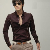 Men   Mens clothing silks and satins border slim men fashion long sleeve shirt,men clothes fashion 2013