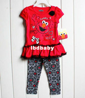 Wholesale 6sets Baby Girl Summer Children s Clothing Sets Ouwear t shirt girl Elmo Pants A7305