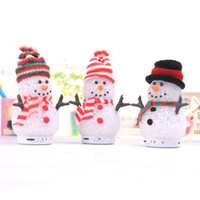 Wholesale Christmas snowman Crystal LED Light bluetooth wirless speaker Music box Support TF Card For samsung Galaxy Note3 S4 iphone S