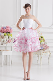 Wholesale Like The blossom of Organza Side zipper Strapless Sleeveless Backless Ball Gown Knee length Prom Dresses