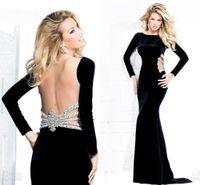 Wholesale 2014 Custom made winter black velvet mermaid evening dresses bateau backless long sleeves sequins sweep train prom gowns