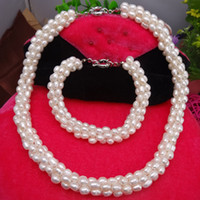 Wholesale Exquisite Natrual Freshwater Pearl Necklace Bracelet Set Bridal Wedding Jewellery