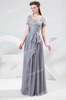 Reference Images Organza Formal Evening Free Shipping GK Stock Chiffon & Lace Short Sleeve Ball Gown Long Prom Party Formal Slim Evening Dresses Women CL4445