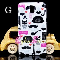Wholesale Beard Mustache Tour Eiffel Tower Keep calm Skull Skeleton HAHA hard Plastic Case Cover For Samsung Galaxy Note III N9000