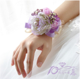 Wholesale 10Pcs November New Simulation Flowers Wedding Bridal Bride Wrist Flowers
