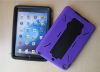 Wholesale HOT iPad MINI ipad Air Robert Hybrid protector case PC Silicone material PC Tablet case with kickstand holder for ipad mini ipad Air