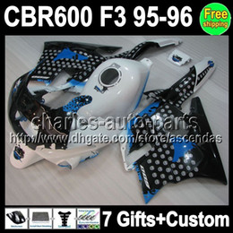 Wholesale 7gifts Custom Fairing tank Graffiti For HONDA CBR600 F3 CBR600F3 Q5 CBR F3 new blue white black F3 bodywork