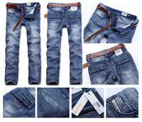 Wholesale HOT retail amp brand JEANS BLUE Leisure amp Casual jeans Newly Style Straight Cotton Men Jeans