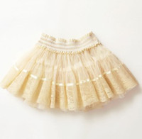 Wholesale Baby girl kids lace skirt flower floral skirt hollow pettiskirt tutu skirt tulle layers ruffles fluffy skirts shorts short skirt beige