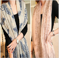 Wholesale Free EMS High quality Blue and White Porcelain Style Thin Section the Silk Floss Women Scarf Shawl L406