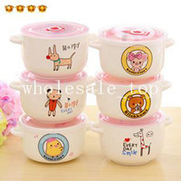Ceramic Bowls Army Green,Sky Blue,Chocolate,Orange,Lig Cartoon bear fashion relaxed ceramic instant noodle bowl instant noodles in cup soup bowl with lid plastic bowl 6934