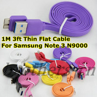For Samsung   Flat Thin Small Noodle Charger Cable For Galaxy Note 3 Micro USB 3.0 1M 3ft Data Sync Lead Cords for Samsung Note3 III N9000 N9006 N9008