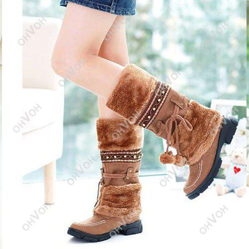 S5Q Women Lace Up FUR LINED Winter Warm Flat Knee High Snow Boots ...