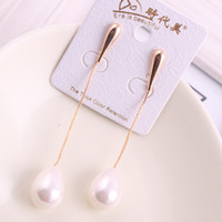 Wholesale Short Korean fashion pearl shell beads long tassel earrings diamond earrings ear jewelry factory wholesaleEarring Necklace Pendant