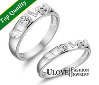 Wholesale Sterling Silver Couple Set Rings with Love Letters Flying Angel Wings Cubia Zirconia Swarovski Stone Bridal Accessories