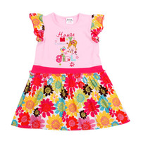 Wholesale H3752 Nova m y baby girls floral dress for summer exquisite embroidery amp printing pink t shirt dress cotton cap sleeve casual girls tops