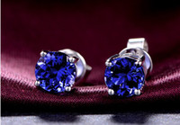 Wholesale 14K White Gold Diamond Stud Earring Round Cut mm Real Natural A Tanzanite Diamond Wedding Setting Engagement Jewelry Certificate XYBP017