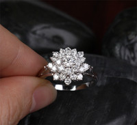 Wholesale Exquisite Women s Jewelry White Sapphire Flower KT White Gold Filled Diamond Gemstone Ring
