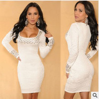 Casual Dresses artificial knee - 2015 New Street Style Sexy Party Dresses Sheath Mini Dresses White Fashion Dresses With Folds and Artificial Diamonds Casual Dresses
