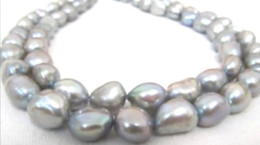 NEW FINE PEARL JEWELRY stunning 12mm baroque south sea silver gray pearl necklace 18inchyellow gold clasp