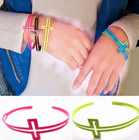 Bangle american fluorescent - factory direct popular fashionable European and American trade opening cross bracelet punk fluorescent colors