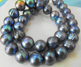 NEW FINE PEARL JEWELRY RARE TAHITIAN 12-13MMSOUTH SEA BLACK BLUE PEARL NECKLACE 19inch 14K