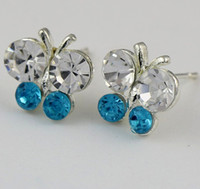 Wholesale MIC Pairs Mixed Color Fresh Silver Plated Full Crystal Rhinestone Earring