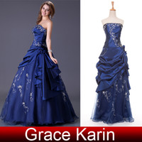Wholesale Stock Royal Blue Hand made Castle Wedding Dresses Ball Gown Beaded Strapless Bridal Gown CL2963