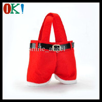Wholesale Christmas New Santa Pants Design Treat Candy Bags Wedding Xmas New Year Gift Bags Chirstmas Decorations Santa Bag Ornaments Hot
