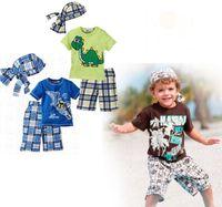 Boy baby crocodiles - 10 Sets Boy s Suits Summer Short Boy Monkey Crocodile Beach Suit Baby hat Top Shorts Pc