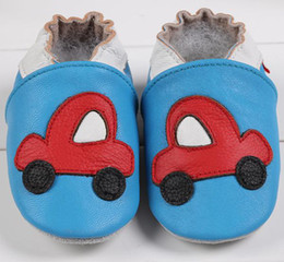 Wholesale Fedex Free New Cow Leather Baby First Walker Shoes Baby Infant Toddler Blue Car Soft Sole Leather Shoes T Style Choose melee
