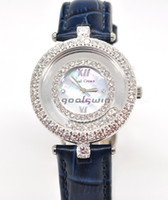 Wholesale Royal Crown New Diamond Luxury Watch Ladies Watch Woman Blue Leather Band CZ Setting By Hand The Best Christmas Gift Via DHL EMS