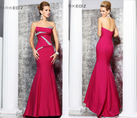 Wholesale Tarik Ediz Strapless trumpet Crystal Beaded Evening Dresses Red Floor length Taffeta Gown Sexy Prom Dress
