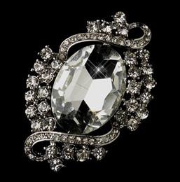 Rhodium Silver Clear Rhinestone Crystal Diamante Vintage Bridal Brooch Pins