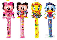 Wholesale Hot sale cm medium cartoon balloon stick blow stick ballons refueling inflatable rods animal head