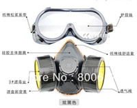 Cheap Double Gas Mask protection filter Chemical Gas Respirator Face Mask Cheapprotective harmful gas paint dust Free Shipping