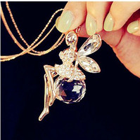 Pendant Necklaces   Hot Sale New Fairy Sweater Chain Angel Wings With Crystal Ball Long Necklace ,Free shipping! Sweater chain