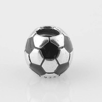 soccer jewelry - S925 Stamped Sterling Silver Soccer Ball Sports Charm Bead with Black Enamel Fits European Pandora Jewelry Bracelets Necklaces Pendant