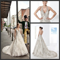 A-Line Reference Images Halter Demetrios Sexy Halter A-line Appliques Court Train Backless Wedding Gowns Customer Made Bridal Wedding Dresses