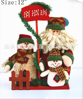 Indoor Christmas Decoration   2013 Christmas Gift Santa Claus Family Top Fabric Xma Decoration Good Quality C0486