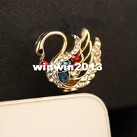 other 3.5mm iPhones/HTC/SUMSANG Min.order is $10(Mix order) Free Shipping New Cute Rhinestone Swan Cell Phone Plug Charms