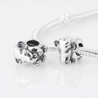 Silver asian jewelry - S925 Sterling Silver Asian Elephant Animal Charm Bead Fits European Pandora Jewelry Bracelets Necklaces