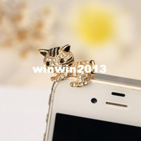 other 3.5mm iPhones/HTC/SUMSANG Min.order is $10(Mix order) Free Shipping New Cute Rhinestone Kitty Cell Phone Dust Plugs