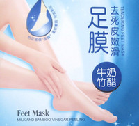 Wholesale ROLANJONA Foot Mask For Feet Peeling Tendering Dead Skin Exfoliator Remover Baby Milk Bamboo Vinegar Peeling Feet Mask pairs pack