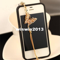 other 3.5mm iPhones/HTC/SUMSANG Min.order is $10(Mix order) Free Shipping New Rhinestone Pearls Butterfly Cell Phone Dust Plugs