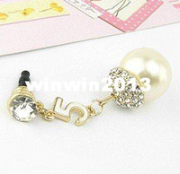 other 3.5mm iPhones/HTC/SUMSANG Min.order is $10(Mix order) Free Shipping Cell Phone Accessories Phone Jewelry Big Pearl Rhinestone Dust Plug