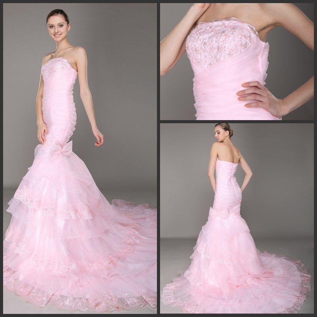 Hot Selling Mermaid Strapless Wedding Dresses Chapel Train