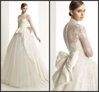 Model Pictures ac picture - Zuhair Murad Customized Fashion High Collar Long Sleeves Back Bow Gauze And Lace A Line Wedding Dresses AC